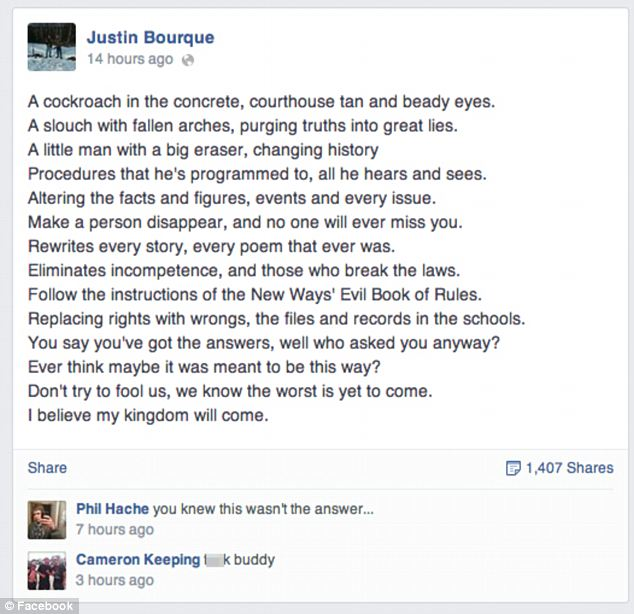 Last post: Bourque published this set of song lyrics shortly before starting his shooting spree at around 7.20pm on Wednesday, and friends reacted in the comments