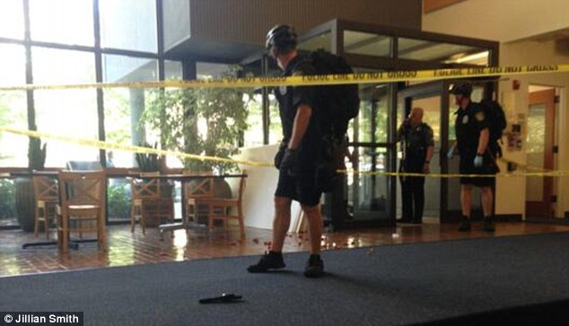 This is the scene of the deadly shooting inside a science building at Seattle Pacific University on Thursday. Shotgun shells can be seen littering the ground