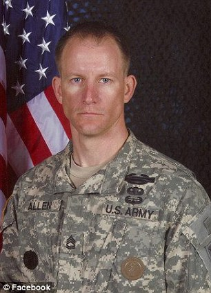 Sgt. 1st Class Mark Allen, pictured left before suffering a gunshot wound to the head. Allen had only been in Afghanistan for one month before he was shot