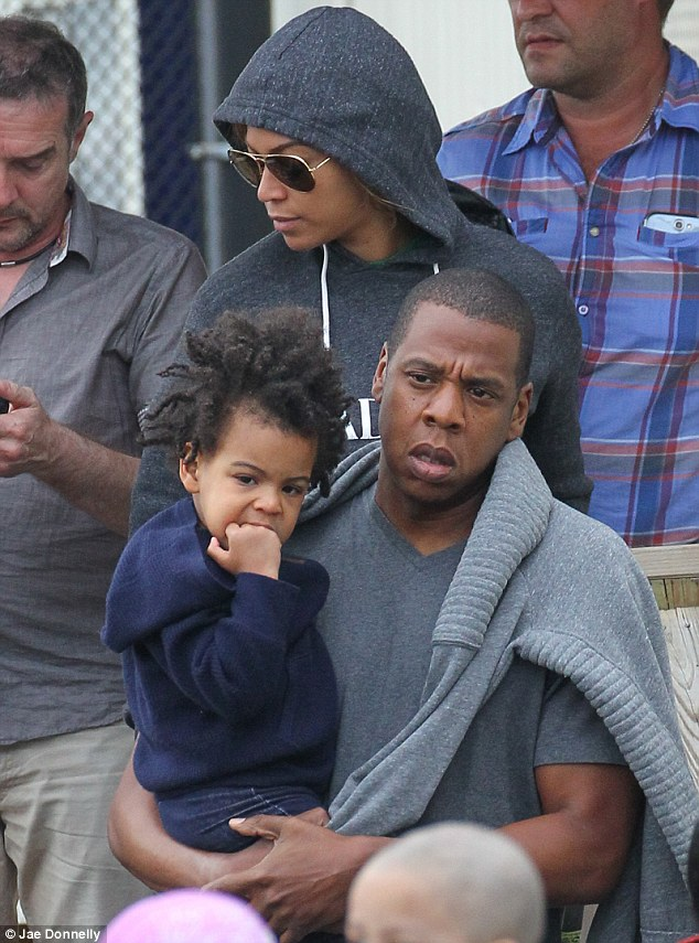 On The Run! Beyonce and Jay Z land in New York on Sunday as they take daughter Blue Ivy to an awaiting vehicle