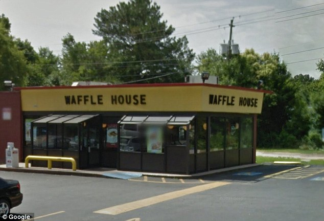 Policy: The manger at the Waffle House where Brown works (pictured) told her he couldn't give her the money because of a restaurant policy about tipping with credit cards
