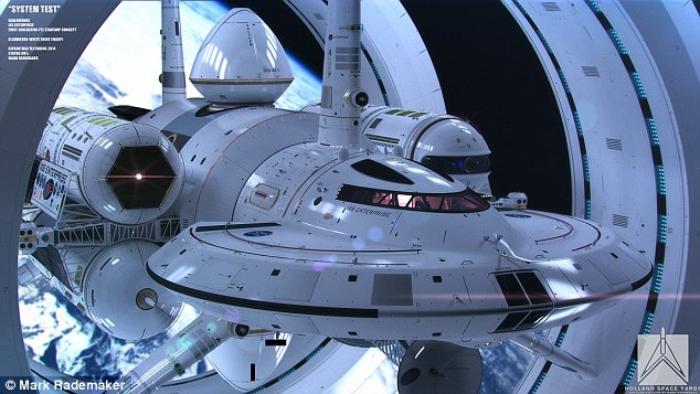 Pictured is an illustration of Dr White's IXS Enterprise, an interstellar ship drawn by artist Mark Rademaker that could be an accurate representation of what the first mission beyond the solar system will look like. The IXS Enterprise is a theory-fitting concept for a faster than light (FTL) ship