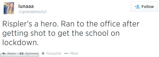 'Rispler's a hero. Ran to the office after getting shot to get the school on lockdown,' one user wrote