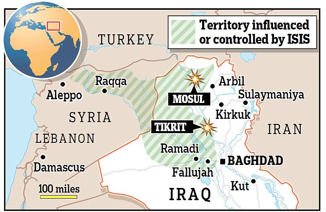 Territory: The above map shows the areas of Iraq and Syria currently controlled by Isis forces