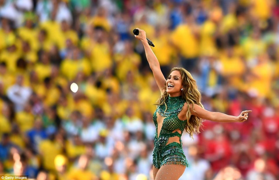 Jennifer Lopez wore a sparkling leotard as she sang the official FIFA World Cup song 'We Are One (Ole Ola)' alongside Pitbull and Claudia Leitte