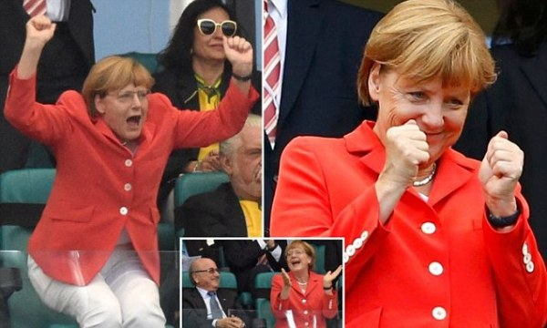 Germany's number one fan: Angela Merkel roars her team on ...