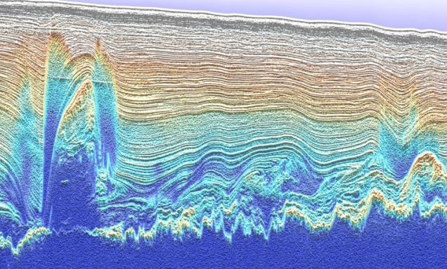 Using ice penetrating radar,  researchers have discovered the ragged blocks of ice as tall as city skyscrapers and as wide as the island of Manhattan at the very bottom of the Greenland ice sheet.
