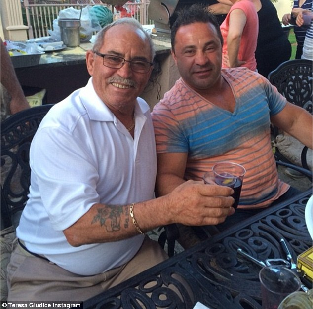 Sweet snap: Teresa Giudice, 42, shared a photo onto Instagram on Friday of her husband Joe with her late father-in-law Frank from just three days prior to him passing away