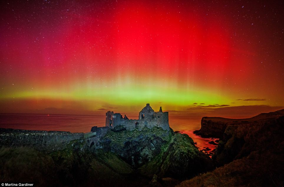Dunluce Castle on the North Antrim coast was captured by Martina Gardiner while it was being bombarded by a storm force aurora