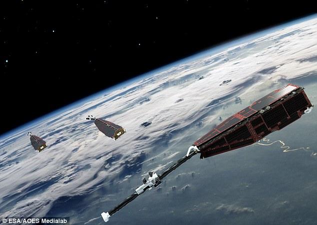 Swarm (ilustración muestra) es la primera constelación de observación de la Tierra de la ESA de los satélites. Los tres satélites idénticos fueron lanzados juntos en un cohete. Órbitas de los satélites a la deriva, que se traducirá en el satélite superior de cruzar el camino de la menor de dos en un ángulo de 90 ° en 2016