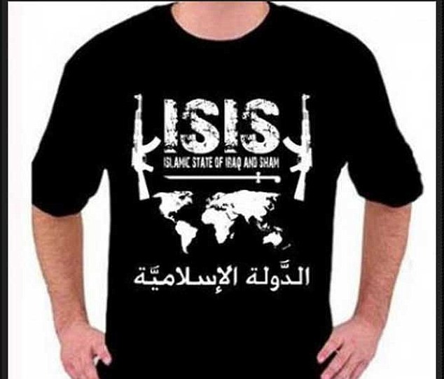 Controversial: Indonesia-based retailer Zirah Moslem describes itself as a seller of clothing of 'Islamic style', including this pro-ISIS T-shirt. It also sells items promoting other groups, such as Hamas and the Taliban