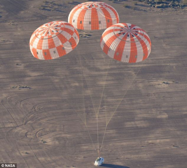 touchdown! A test version of Nasa's Orion spacecraft touches down in the Arizona desert after its most complicated parachute test to date.
