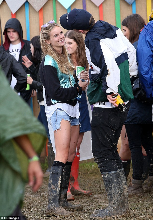 Plenty to talk about: Cressida was seen chatting to Will Poulter on Saturday after partying with him the night before