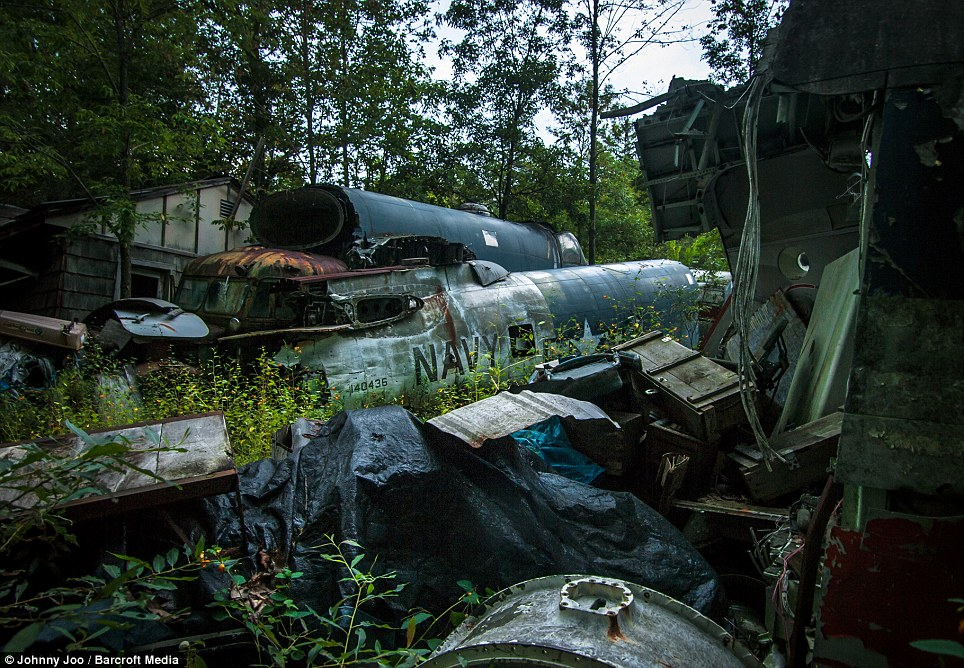 The collection also features ex Navy machines, and a Fairchild C-82 Boxcar fuselage that his children used as a clubhouse