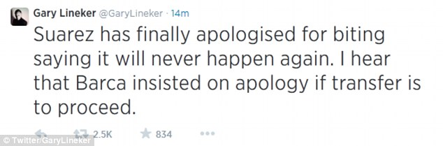 Suggestion: Lineker says Barcelona may have forced the apology upon Suarez in order for a transfer to occur