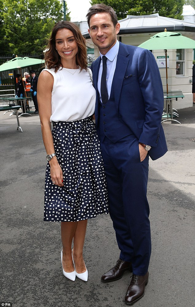 Time for tennis: Frank Lampard and Christine Bleakley made a stylish entrance when they attended day 12 of Wimbledon on Saturday