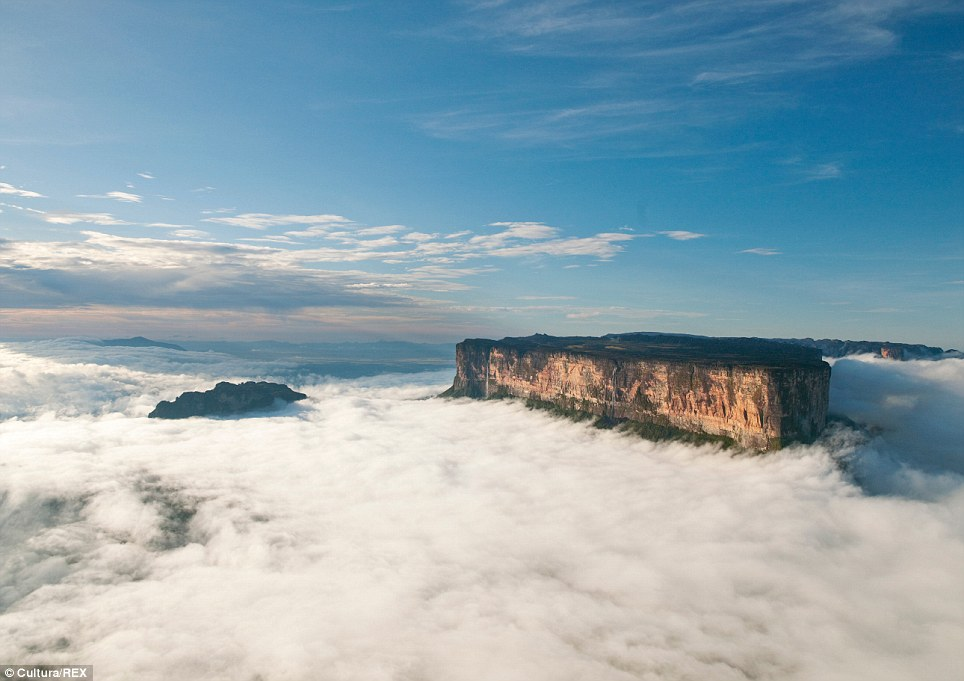 Amazing view: The magnificent Mount Roraima towers above the clouds hanging over the Gran Sabana in Venezuela