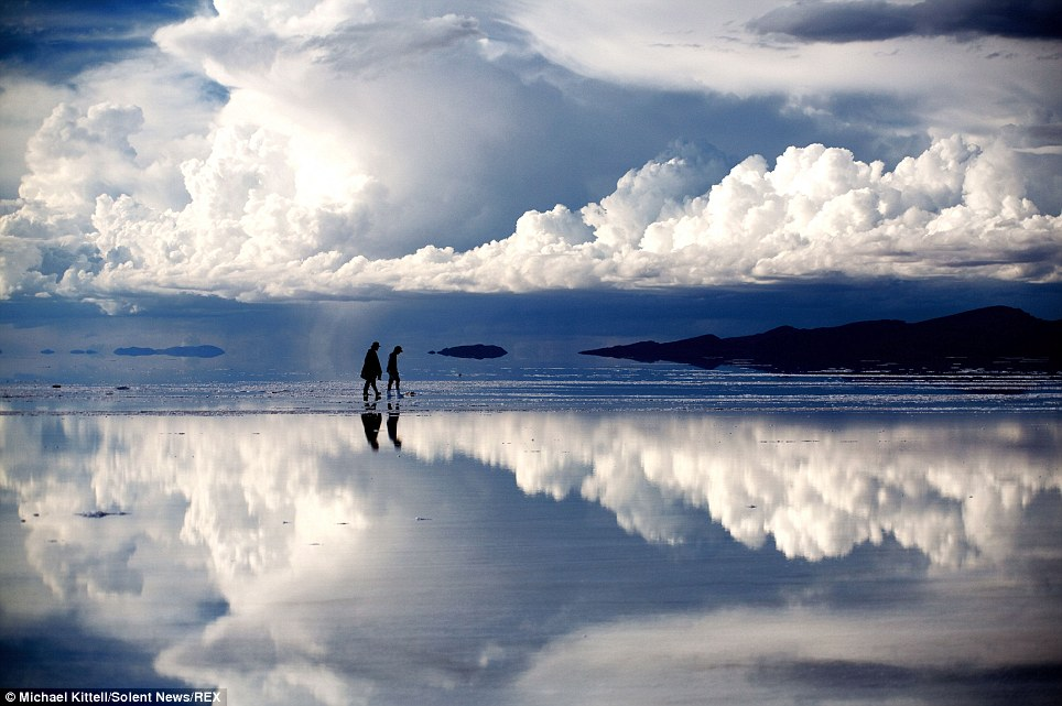 Dreamworld: The Bolivian salt flat shots were taken by photographer and lawyer Michael Kittell, who believes the world's largest salt plain is one of the most beautiful places on Earth