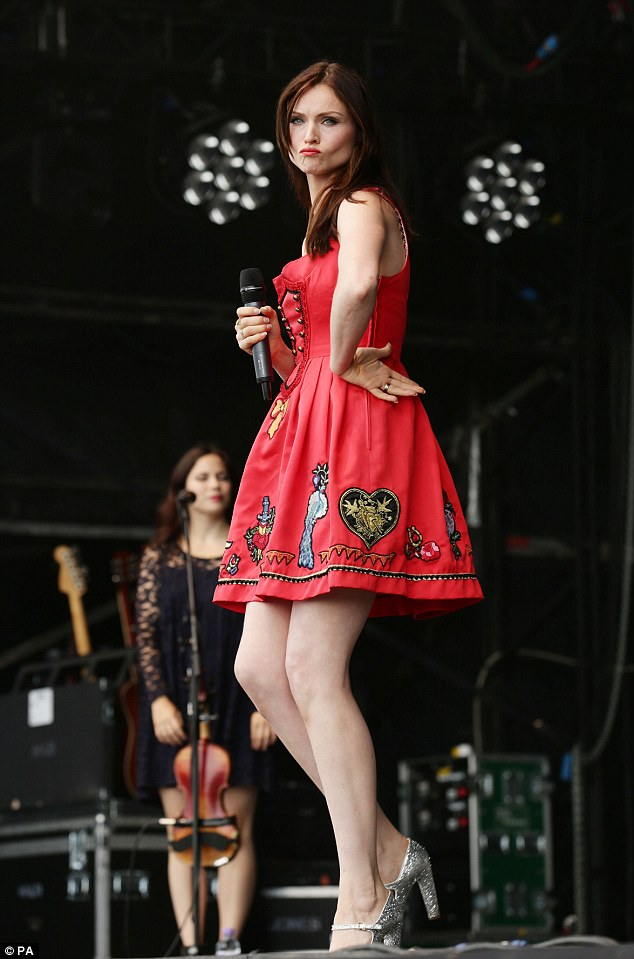 Ready to party: Sophie Ellis-Bextor strikes a pose on stage during T in the Park