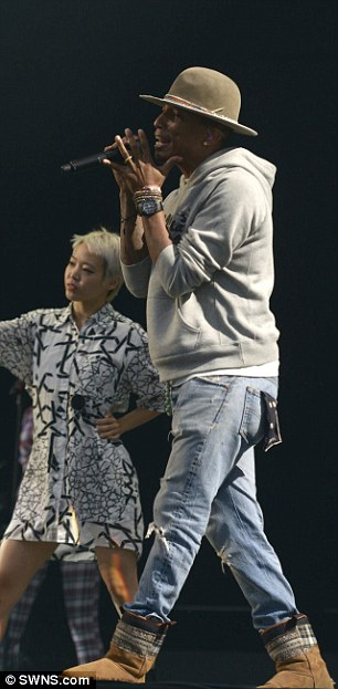 Getting lucky: Pharrell performed tracks from her latest album G.I.R.L. during the Festival