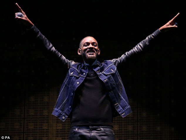 Star man: Will Smith was on stage after jetting into the UK from Ibiza