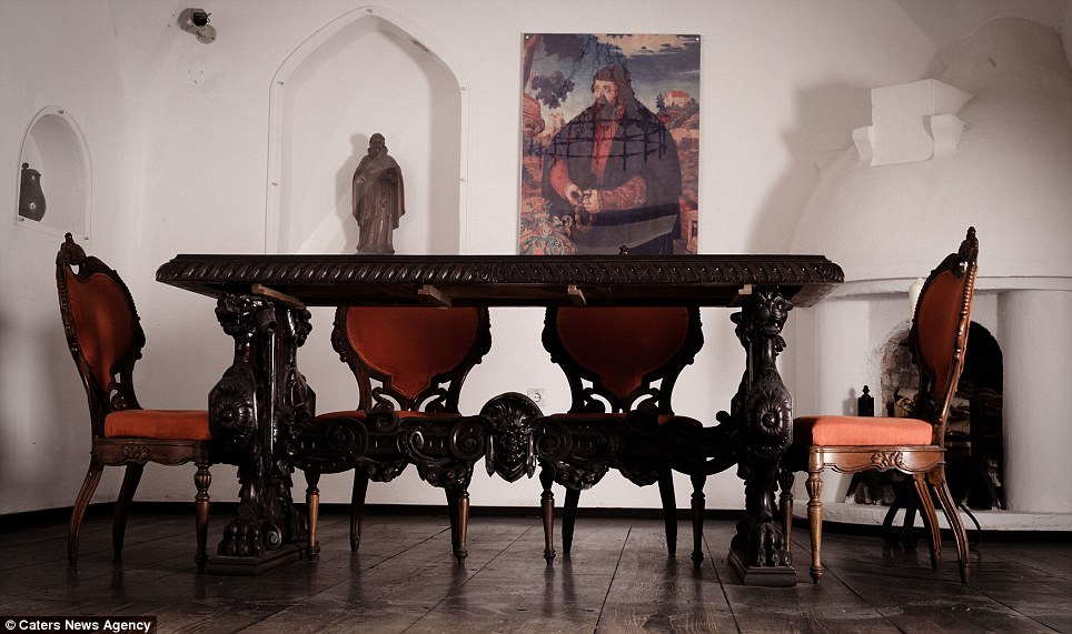 Dining out: For those looking to feast on more than just blood, the eerie dining room is decorated with statues and works of art