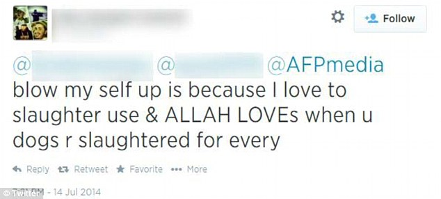 On July 14, Sharrouf tweeted he loved to slaughter Australians to the AFP