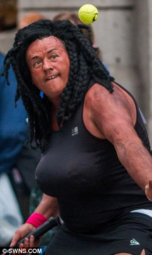 'Inappropriate': Kevin Stevens, pictured as Venus Williams, caused concern at Truro Carnival in Cornwall