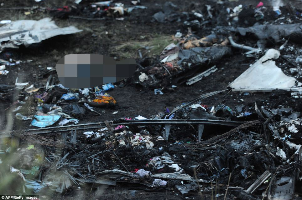 Crash site: A picture taken this afternoon shows bodies amongst the wreckage of the doomed plane