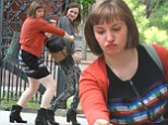 Was that in the script? Lena Dunham twerks with Judd Apatow's daughter Maude on set of Girls