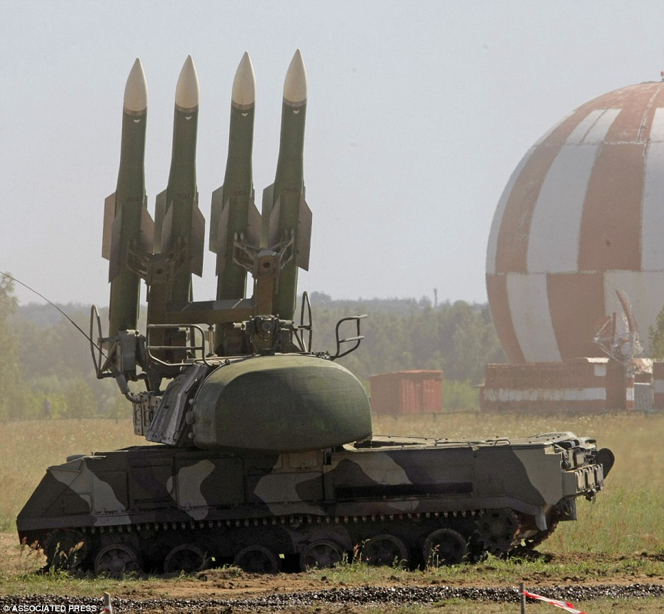 "Russian air defense missile system Buk M2 seen at a military show at the international forum ""Technologies in machine building 2010"" in Zhukovsky outside Moscow, Wednesday, June 30, 2010. (AP Photo/Mikhail Metzel)"