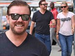Still making her smile! Comedian Ricky Gervais and partner of 32 years Jane Fallon giggle together on lunch date