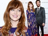 Flower power couple! Emma Stone looks striking in blue floral dress as she arrives at premiere with boyfriend Andrew Garfield