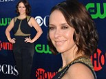 Jennifer Love Hewitt is glowing and happy at TCA party... but it's a shame about her unflattering black and gold trouser suit