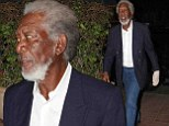 A glove-ly night out! Morgan Freeman wears hand compressor as he goes for a fancy meal in Los Angeles