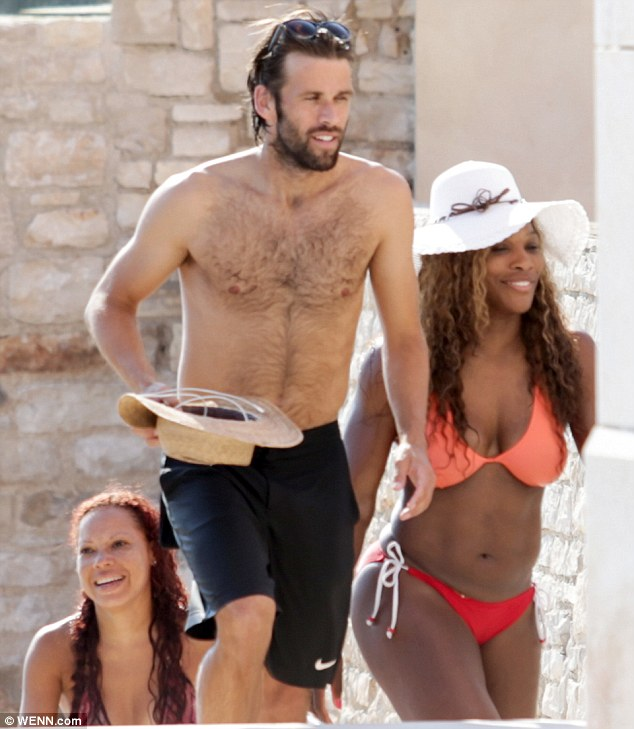 Romantic: The American tennis player was seen arriving back at her private villa with her boyfriend Partrick Mouratoglou and other pals