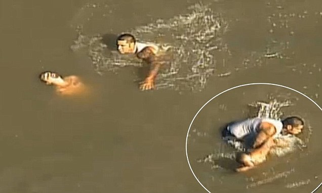 Man rescued from blue river
