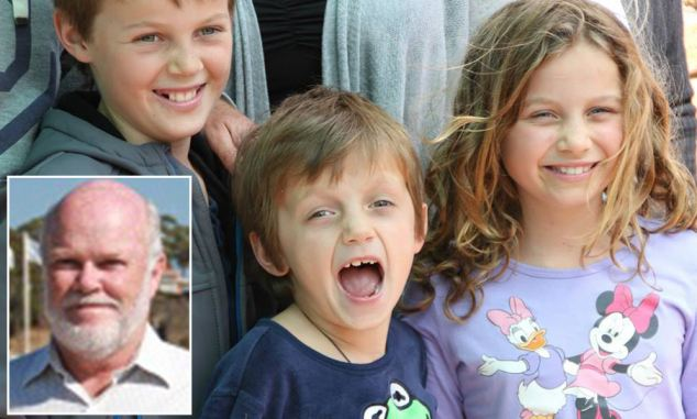 Nick Norris (bottom left) was traveling with his grandchildren Otis, Mo and Evie Maslin (left to right) were on board MH17 when it crashed.