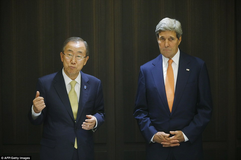 US Secretary of State John Kerry (right) meets with UN Secretary-General Ban Ki-moon in Jerusalem. Kerry said today that diplomacy to end the Gaza bloodshed has made progress, but warned more time was needed