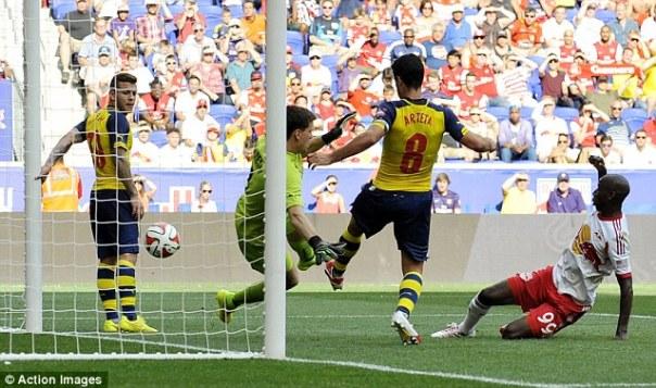 Netted: Bradley Wright-Phillips scores against Arsenal
