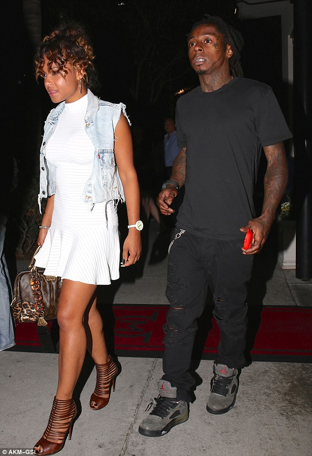 Date night: Christina Milian and Lil Wayne headed to Mastro's Steakhouse restaurant  on Sunday night in Beverly Hills, California