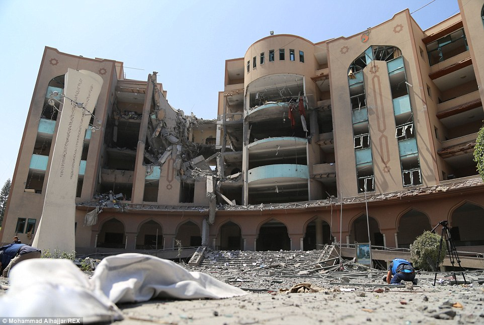 War of words: Damage at the Islamic University of Gaza, which Israel insisted was being used as a weapons research and manufacturing site for militants