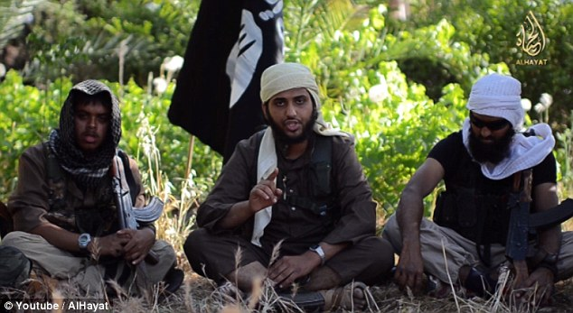 Propaganda: Kahn (left) appeared in a recruitment video encouraging young men to join ISIS's jihad in Syria and Iraq, alongside Nasser Muthana (centre) and former Aberdeen schoolboy Abdul Raqib Amin (right)
