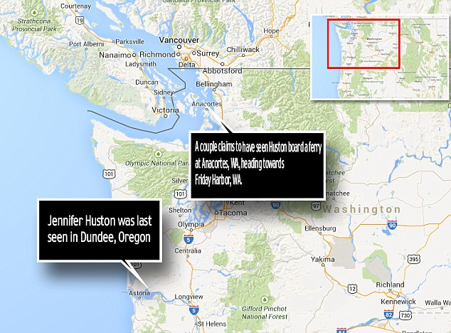Clue: If the new sighting of Jennifer Huston is confirmed, she was last seen 300 miles - or a six hour drive - from her Oregon home in Anacortes, Washington