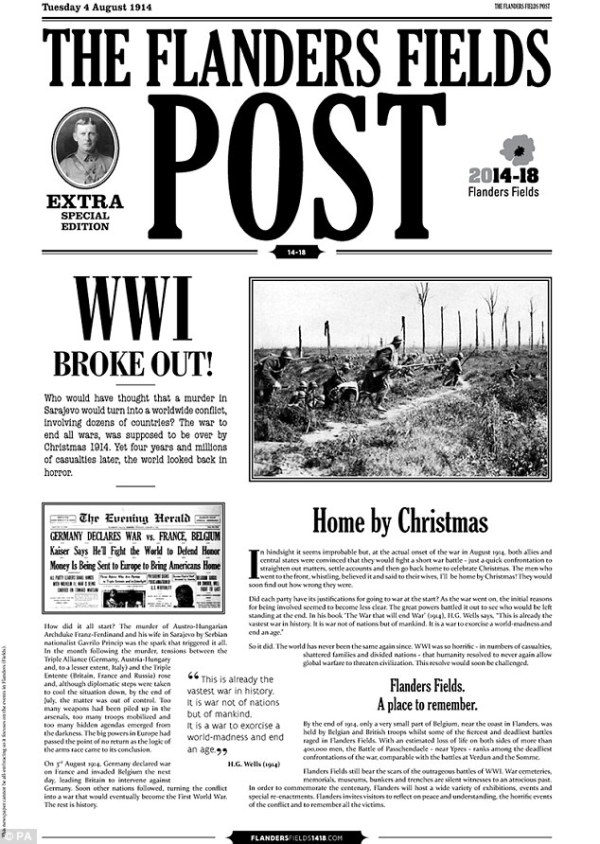 The Flanders Fields Post recreates newspaper produced by ...