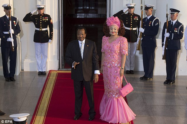 Cameroon president Paul Biya (with his wife Chantal Vigouroux) pictured at the President Obama's summit yesterday