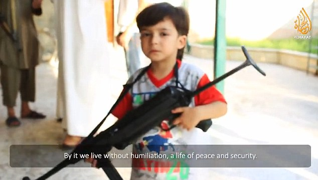 Propaganda: In the video a child is shown holding a machine gun with a caption about 'peace and security'
