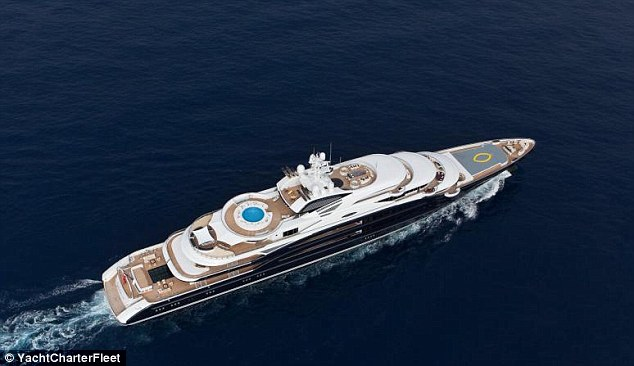 Luxury: The Serene has the ability for two helicopters to land on deck - the circular pool seen in the middle of the boat can be transformed into a helipad