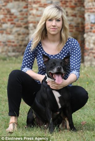 Seizure: Maggie O'Connor, 26, was walking her dog Dillion when she had the fit. She said the men were laughing at her because she had wet herself