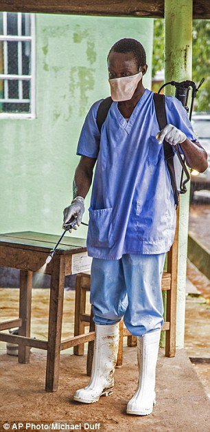 Infection control: A health worker sprays disinfectant in an effort to curb the spread of the deadly Ebola virus, which has killed nearly 1,000 so far this year
